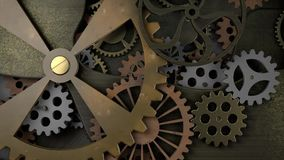 Vecchio movimento a orologeria con molte ruote dentate archivi video