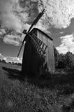 Vecchio mulino a vento di legno. Fotografia Stock