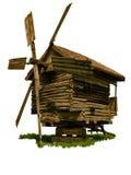 Vecchio mulino a vento di legno isolato fotografia stock
