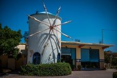 Vecchio mulino a vento su Zacinto Fotografia Stock Libera da Diritti