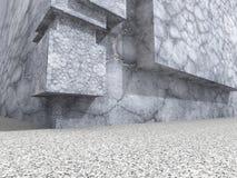 Vecchio muro di cemento con la luce del sole Fotografia Stock