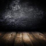 Vecchio muro di cemento e pavimento di legno. Fotografia Stock Libera da Diritti