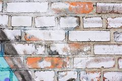 Vecchio muro di mattoni bianco sporco d'annata Immagine Stock Libera da Diritti