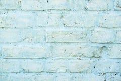 Vecchio muro di mattoni blu con pittura, struttura del fondo retro Fotografie Stock Libere da Diritti