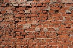 Vecchio muro di mattoni con gesso scheggiato ed ombra dura fotografia stock