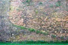 Vecchio muro di mattoni rosso-arancio e un prato inglese 13 Fotografia Stock Libera da Diritti