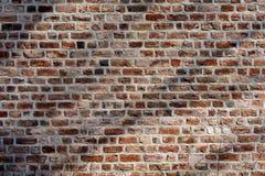 Vecchio muro di mattoni rosso con le ombre Immagini Stock Libere da Diritti