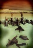 Vecchio naufragio di legno Immagine Stock