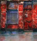 Vecchio negozio rosso Fotografia Stock
