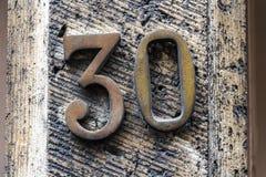 Vecchio numero storico della via in signore, Fiandre, Belgio Fotografia Stock Libera da Diritti