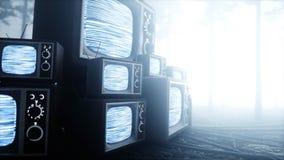 Vecchio oggetto d'antiquariato TV nel timore e nell'orrore della foresta di notte della nebbia Concetto di Mistic rappresentazion royalty illustrazione gratis