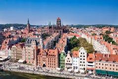 Vecchio orizzonte della città di Danzica, Polonia Fotografie Stock