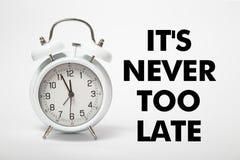 Vecchio orologio bianco con testo Fotografia Stock Libera da Diritti