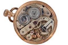 Vecchio orologio da tasca del movimento a orologeria Immagine Stock