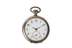 Vecchio orologio da tasca rotondo d'annata isolato su bianco Immagini Stock Libere da Diritti