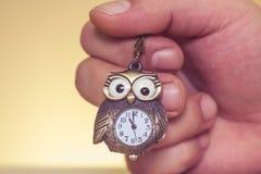 Vecchio orologio del gufo Fotografia Stock Libera da Diritti