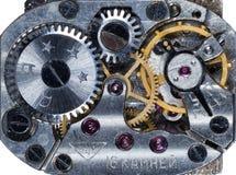 Vecchio orologio dell'URSS del movimento a orologeria, sveglia Fotografie Stock