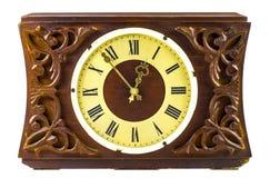 Vecchio orologio di legno Fotografie Stock