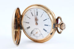 Vecchio orologio dorato Fotografie Stock