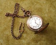 Vecchio orologio dorato Fotografia Stock