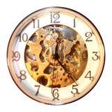 Vecchio orologio isolato Fotografia Stock