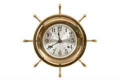 Vecchio orologio nautico isolato su bianco Fotografia Stock Libera da Diritti