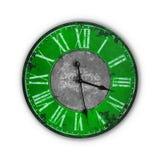 Vecchio orologio verde d'annata isolato Fotografia Stock