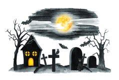 Vecchio paesaggio del cimitero Notte di orrore Illustrazione del partito di Halloween Illustrazione dell'acquerello Immagini Stock