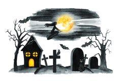 Vecchio paesaggio del cimitero Notte di orrore Illustrazione del partito di Halloween Illustrazione dell'acquerello Fotografia Stock Libera da Diritti