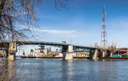 Vecchio paesaggio del ponte di Sorel-Tracy Fotografia Stock Libera da Diritti
