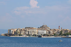 Vecchio paesaggio della città di Corfù fotografia stock
