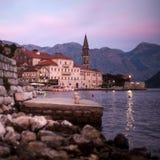 Vecchio paesaggio della città, Perast, baia di Cattaro, Montenegro Fotografie Stock Libere da Diritti