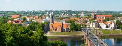 Vecchio paesaggio di tempo di giorno della città di Kaunas Fotografie Stock Libere da Diritti