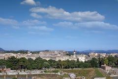 Vecchio paesaggio urbano della città di Corfù Fotografie Stock Libere da Diritti