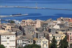 Vecchio paesaggio urbano della città di Corfù Fotografia Stock
