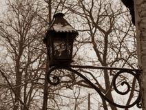 Vecchio palo della luce nella seppia Immagini Stock Libere da Diritti