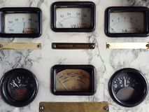 Vecchio pannello dei dispositivi sensori Fotografia Stock Libera da Diritti