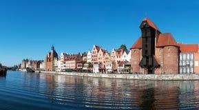 Vecchio panorama della città di Danzica, Polonia Fotografia Stock