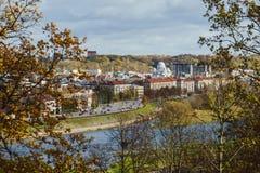 Vecchio panorama della città di Kaunas Immagine Stock