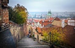 Vecchio panorama della città di Praga, repubblica Ceca fotografia stock