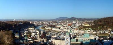 Vecchio panorama della città di Salisburgo Immagini Stock