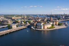 Vecchio panorama della città di Stoccolma dalla cima del comune, Svezia Fotografia Stock Libera da Diritti