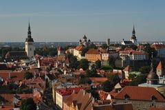 Vecchio panorama della città di Tallinn Estonia Immagine Stock