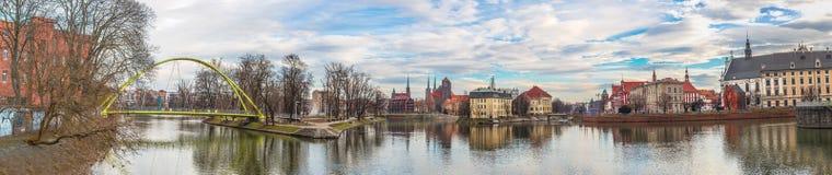 Vecchio panorama della città di Wroclaw Immagini Stock
