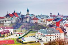 Vecchio panorama della città di Lublino, Polonia Immagini Stock Libere da Diritti