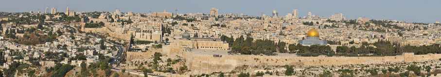 Vecchio panorama di Gerusalemme Immagine Stock
