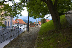 Vecchio panorama di Kamnik della città Fotografia Stock