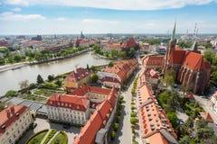 Vecchio panorama di paesaggio urbano della città, Wroclaw, Polonia Fotografia Stock Libera da Diritti