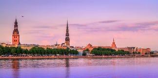 Vecchio panorama di Riga, Lettonia, Europa Fotografia Stock Libera da Diritti