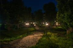 Vecchio parco della città alla notte con una pietra per lastricati, una pianta e le lanterne Fotografia Stock